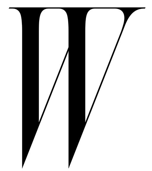 W magazine's infamous logo, a gorgeously typeset serif W