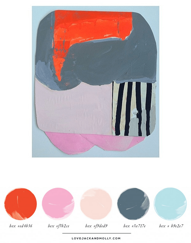 Painting by Sarah Boyts Yoder: Team Stripe #2, Gorgeous Color Palette Inspiration of Warms and Cools