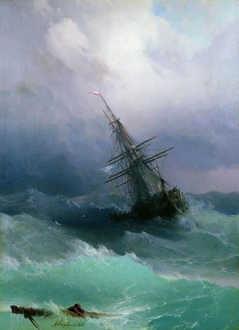Tempest, Original Painting by Ivan Aivazozsky, 1886