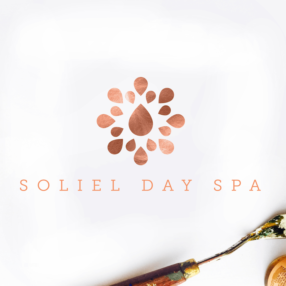Gorgeous Custom Spa Logo Design, Copper Metallic Foil