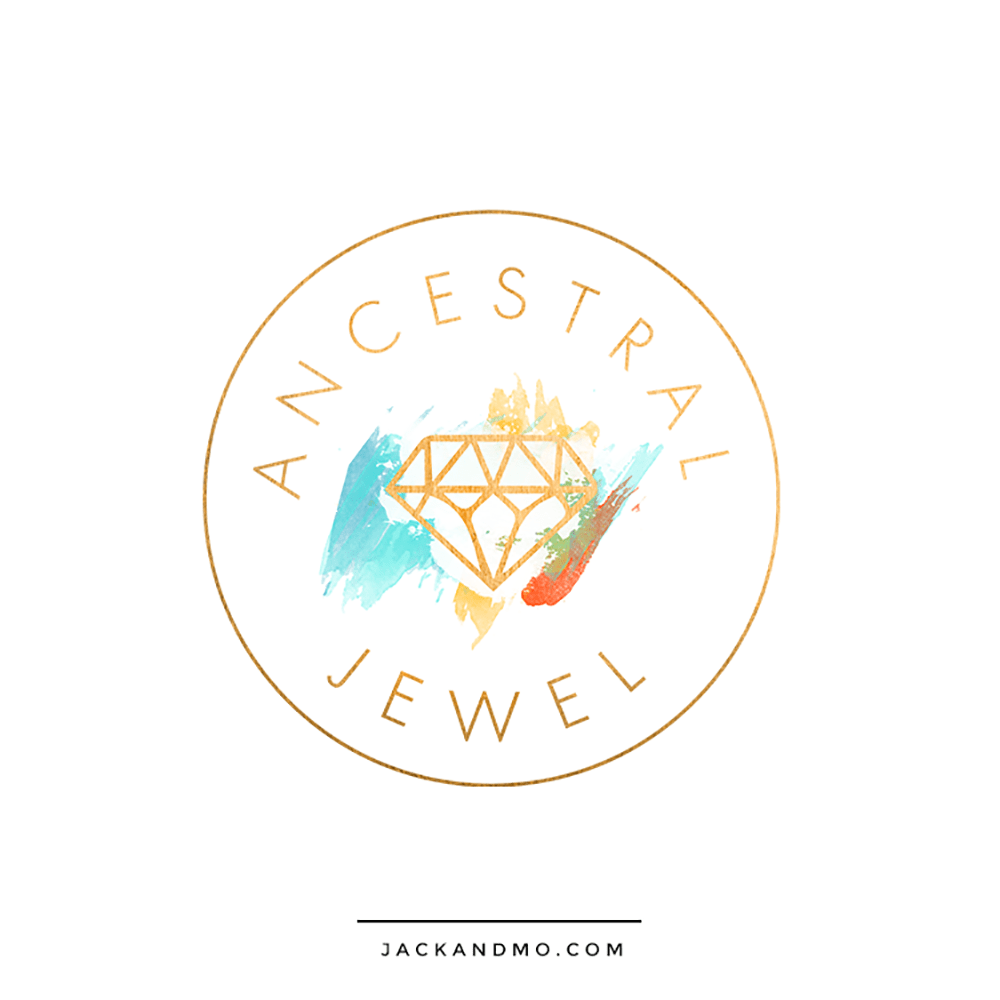 Gorgeous Jewel Tones Painted Watercolor Custom Logo Design by Jack and Mo