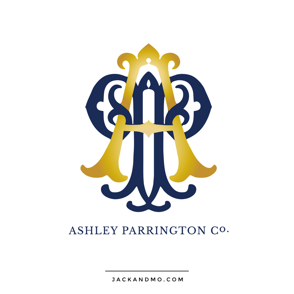 Gold and Navy Monogram Custom Logo Design by Jack and Mo