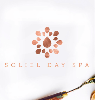 Gorgeous gold and copper logo design for a day spa