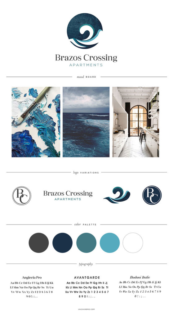 Brazos Crossing, Logo Design and Branding for apartment complex