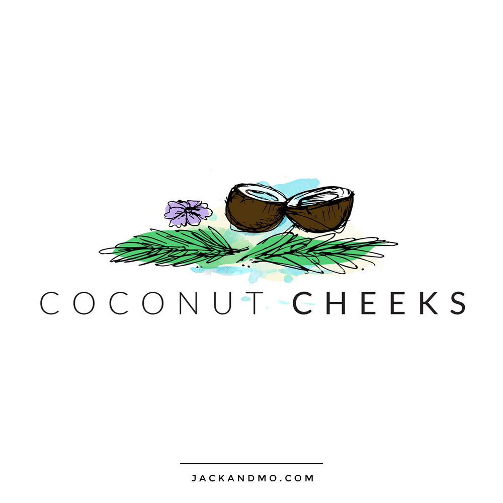 Coconut Cheeks Logo Design Ink Drawing with Painted Layers by Jack and Mo Raleigh NC