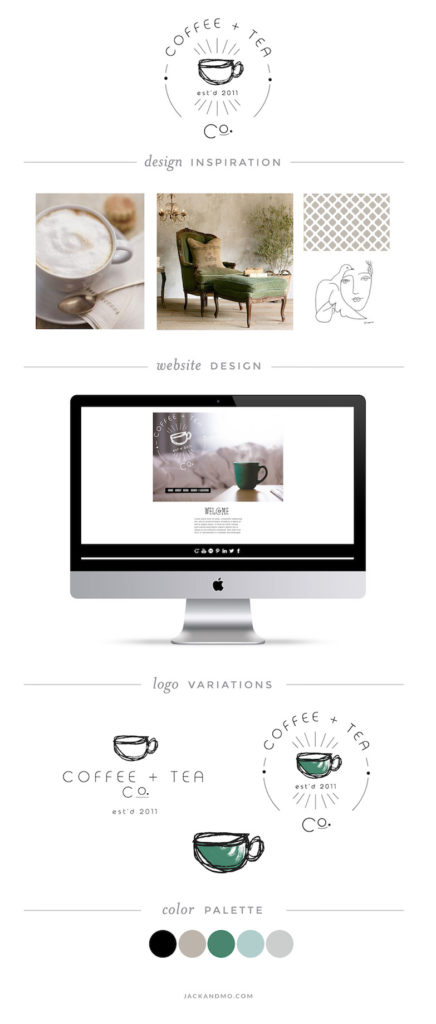 Coffee and Tea company custom logo design, bespoke design