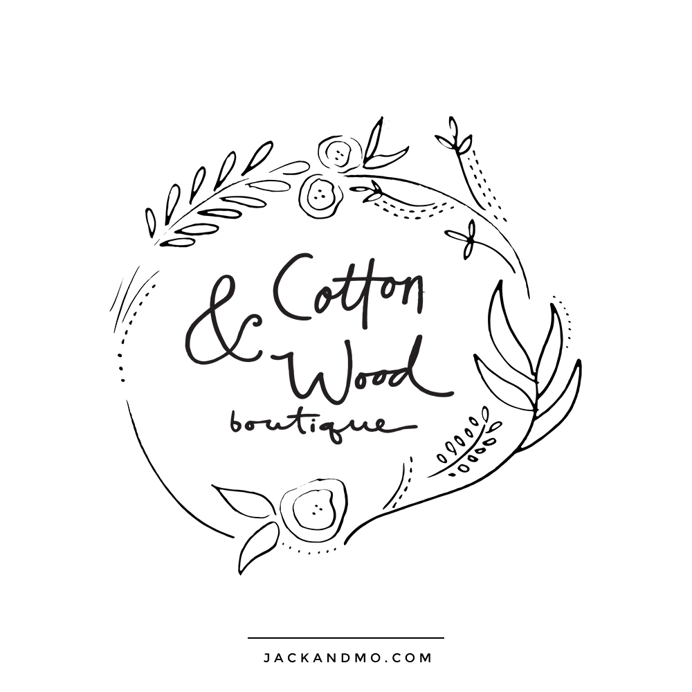 Cute Boutique Custom Logo Design with Hand Drawn Illustration by Jack and Mo Raleigh NC