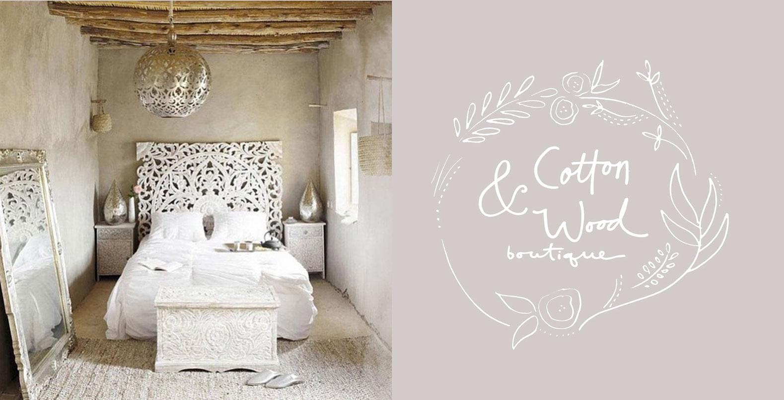 Cotton and Wood boutique logo, uniquely hand-drawn design