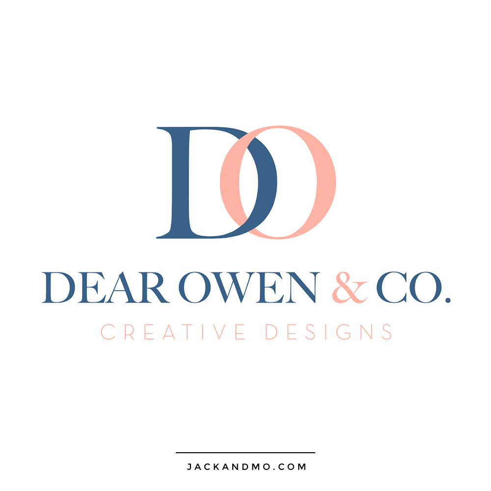Dear Owen Creative Designs Custom Monogram Cute Logo Design in Pink and Navy by Jack and Mo Raleigh NC