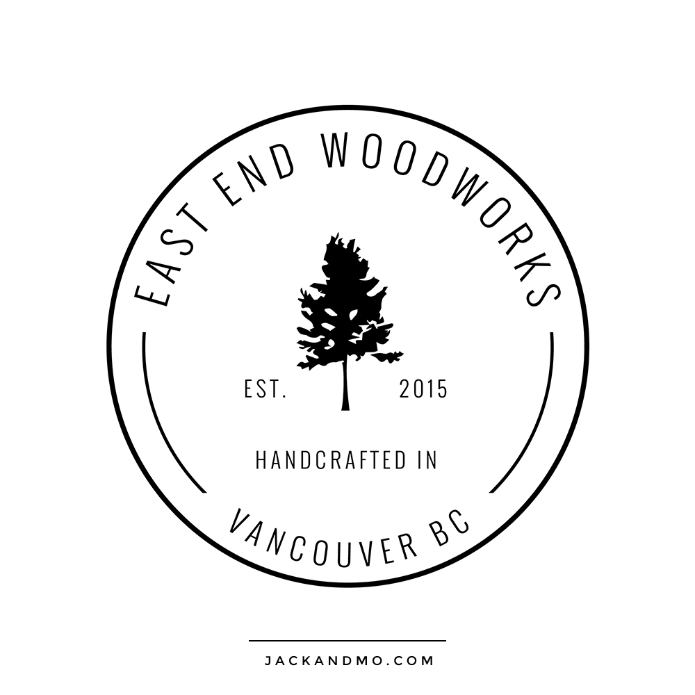 Woodworks Cool Stamp Logo Design Black and White Modern by Jack and Mo Raleigh NC