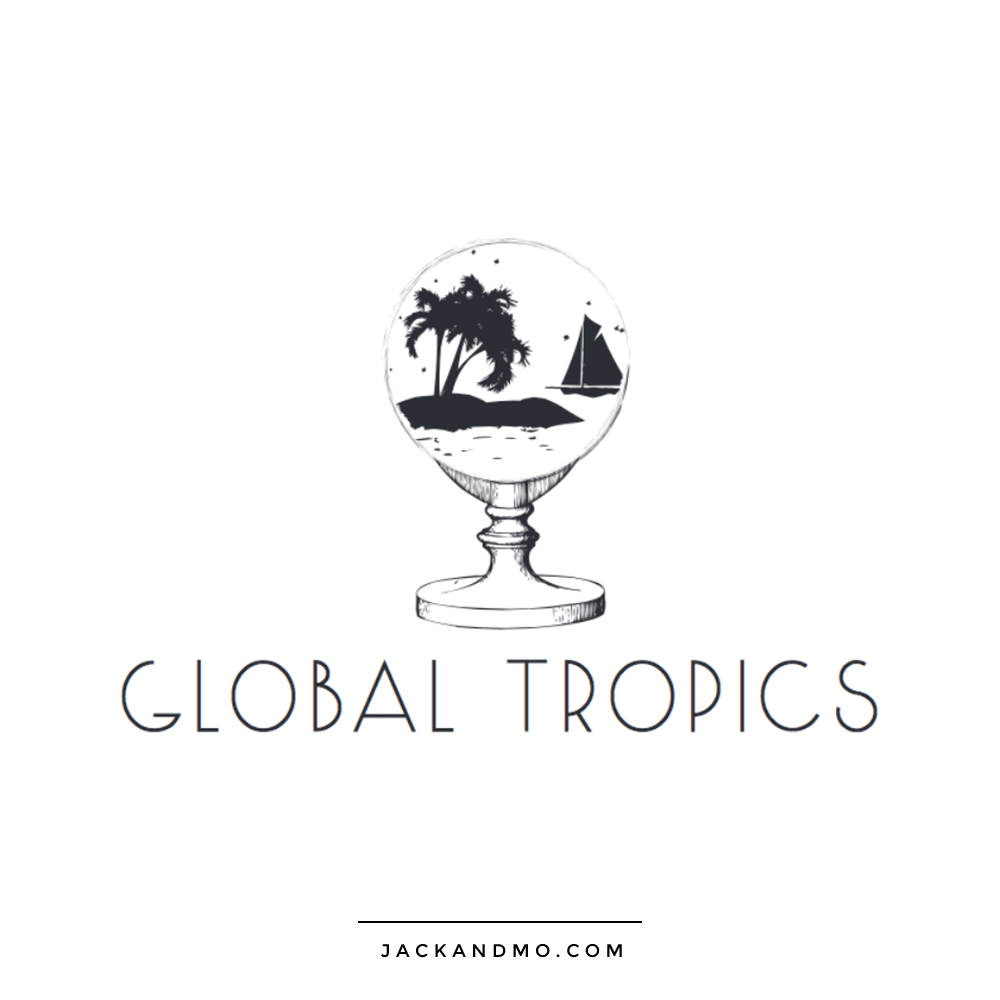 Travel Logo Design, Black and White Custom Illustration by Jack and Mo Raleigh NC