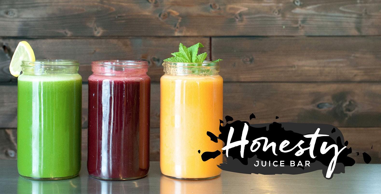 Honesty Juice Bar, hand painted ink black and white modern logo design