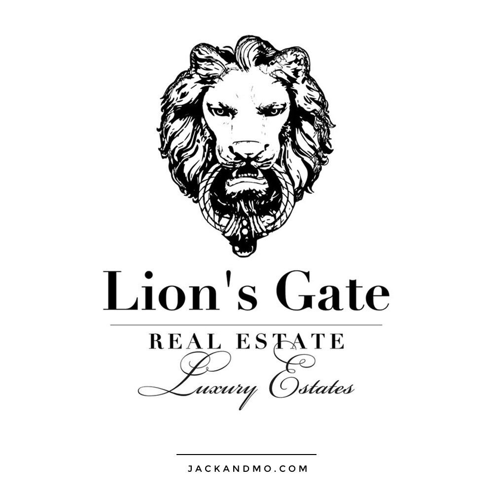 Luxury Real Estate Logo Design with Custom Lion Illustration Drawn by Jack and Mo Raleigh NC