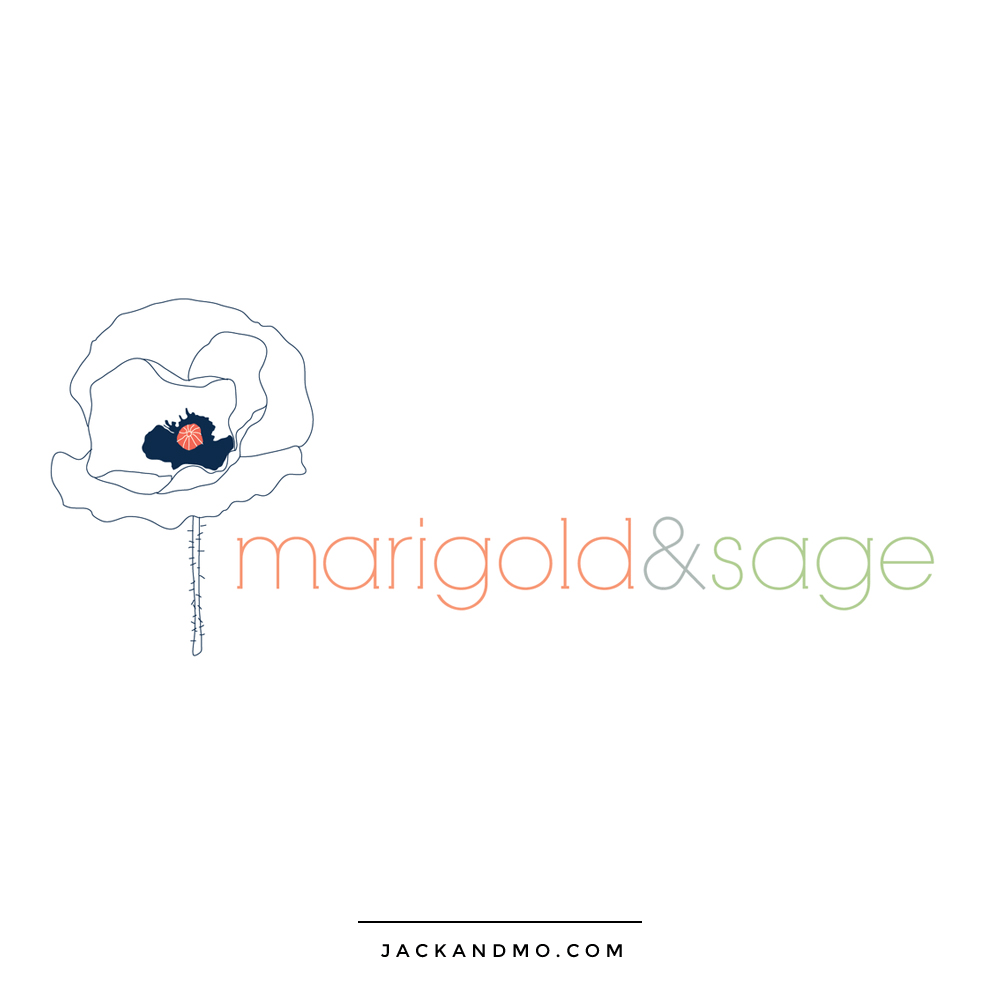 Floral Flower Custom Drawing Boutique Logo Design and Brand Identity by Jack and Mo Raleigh NC