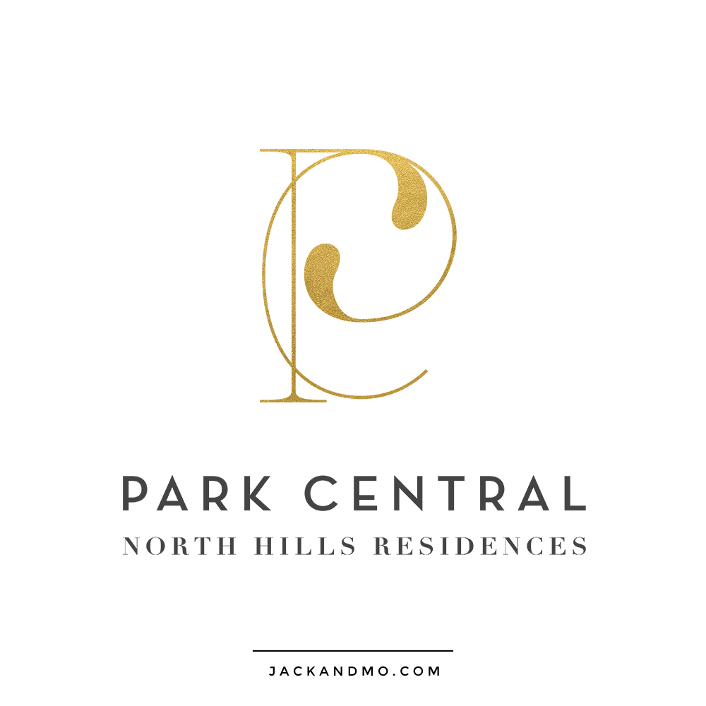 Park Central Raleigh NC Logo Design Gold Foil Monogram High-end Gorgeous by Jack and Mo
