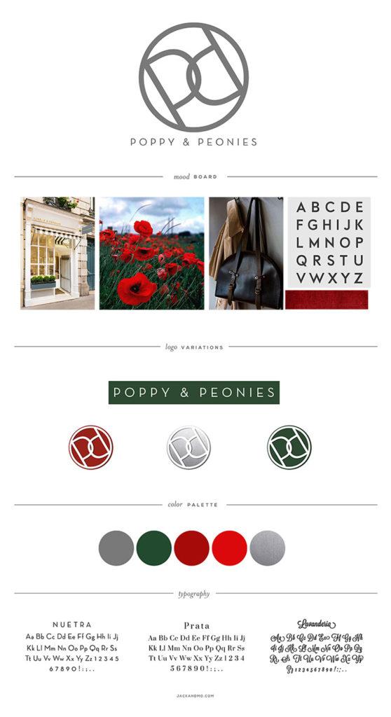 Poppy Logo Design and Branding, color palette, modern