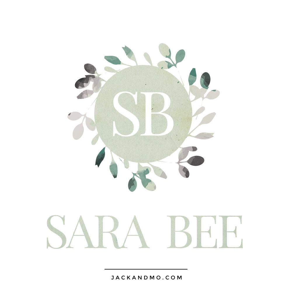 Logo Design Muted Color Palette, Monogram, Floral and Leaf Design, Laurel, by Jack and Mo