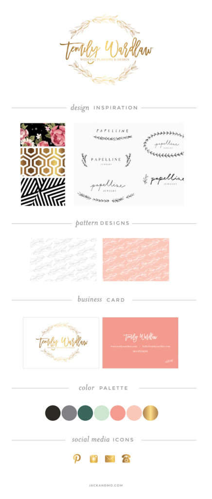 Gorgeous gold foil logo design with hand drawn floral design