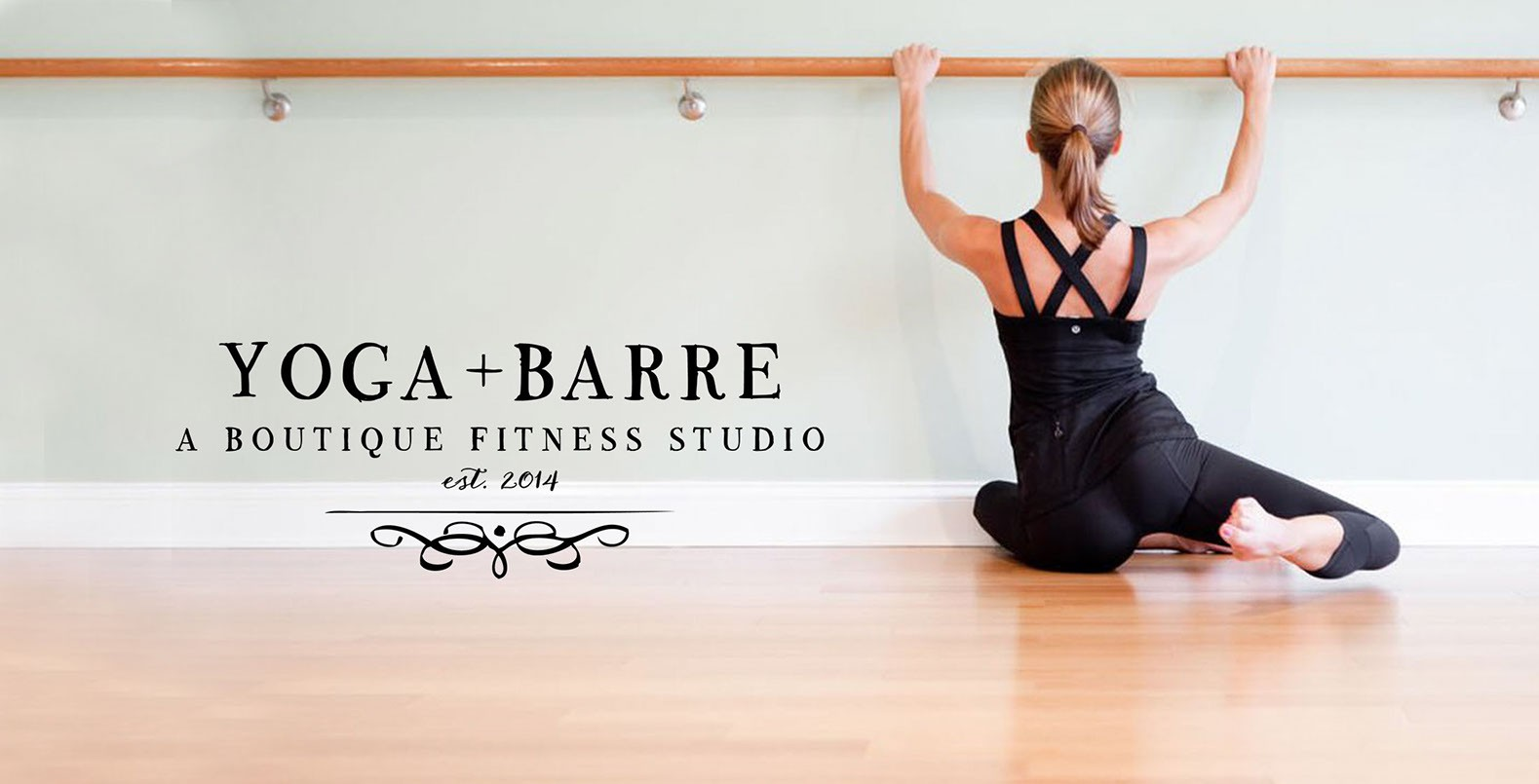 Yoga + Barre, logo design with beautiful black ink