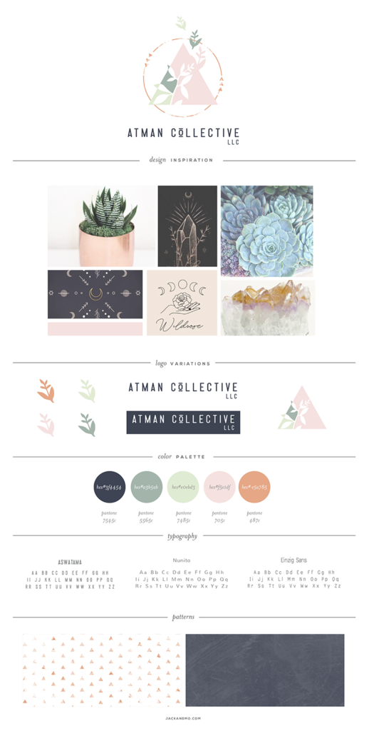 Brand Board and Style Guide for Atman Collective by Jack and Mo, Logo Design and Branding