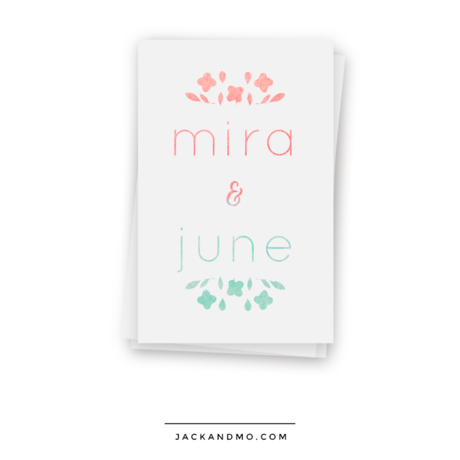Ombre Watercolor Logo Design with Hand Drawn Flowers, Cute Ampersand