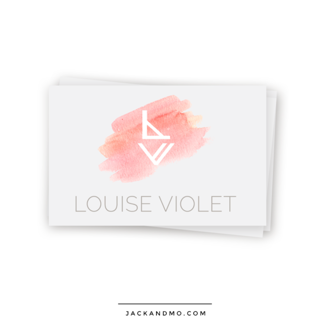 Peach Watercolor Logo Design with Modern Monogram