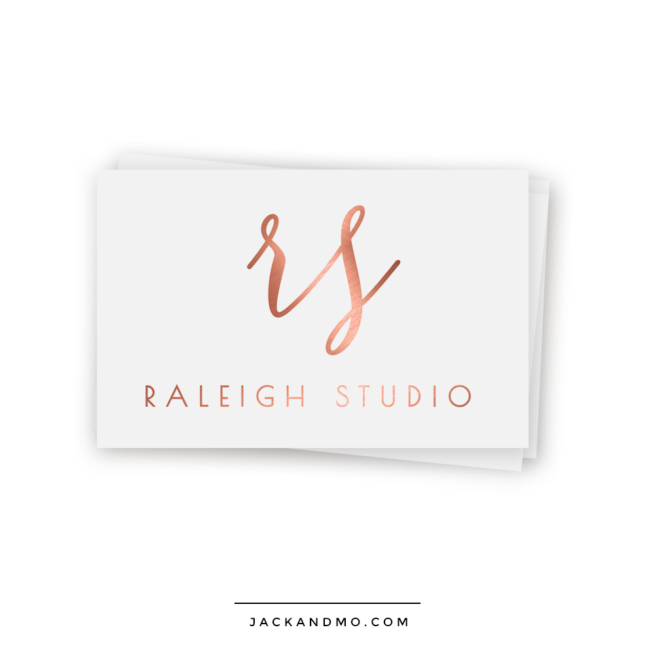 Rose Gold Monogram Script Logo Design