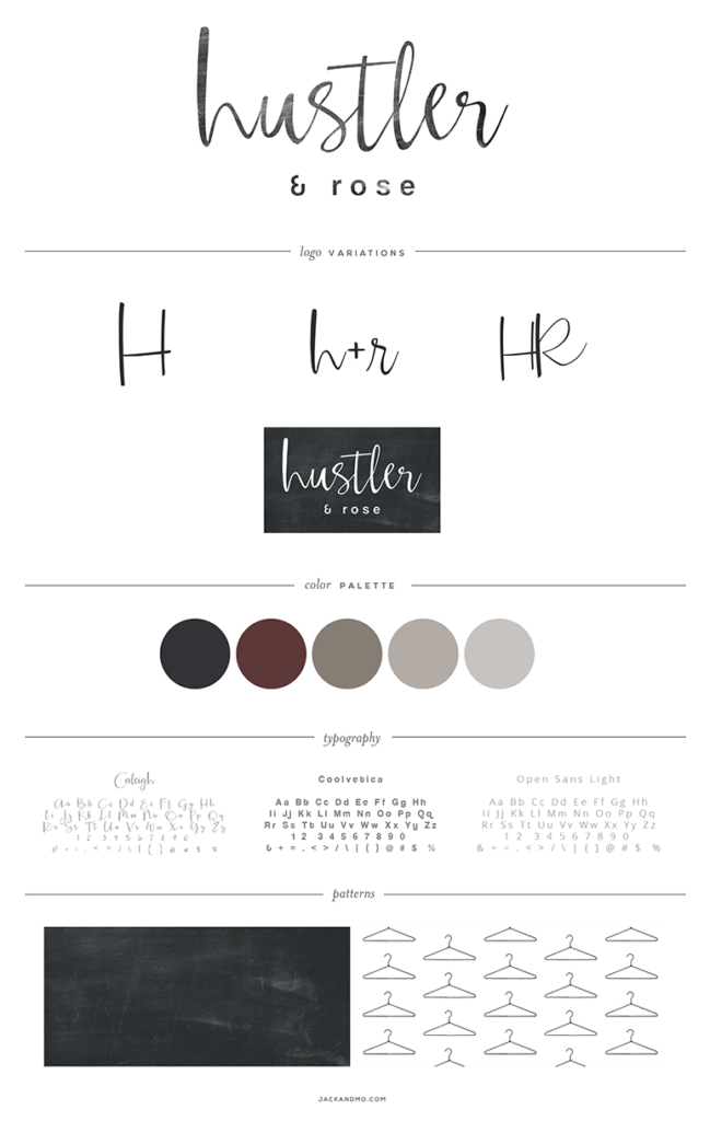 Hustler and Rose Logo Design and Branding, Style Guide by Jack and Mo