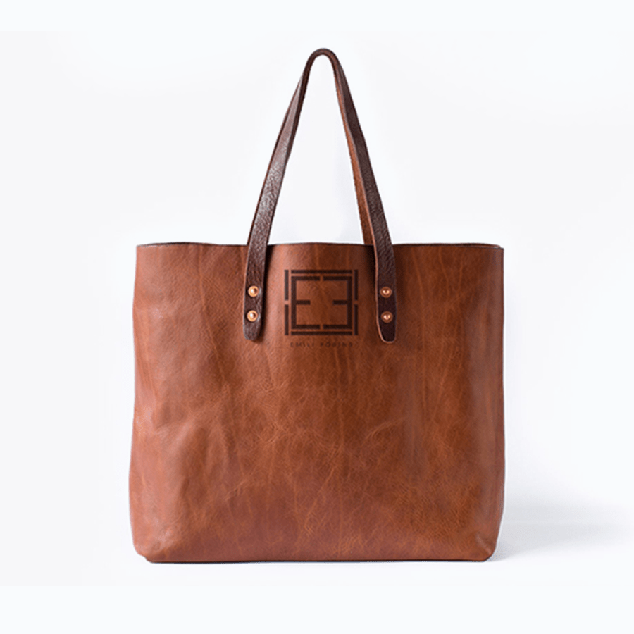 Custom Logo Design by Jack and Mo on Leather Tote Bag