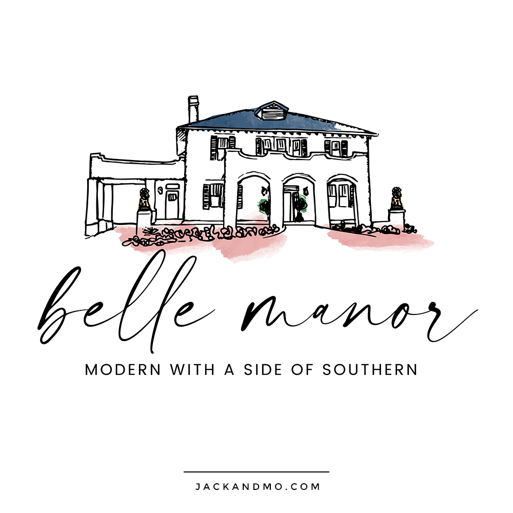 Logo Design for Belle Manor, a Hand-drawn Illustration with Watercolor Logo