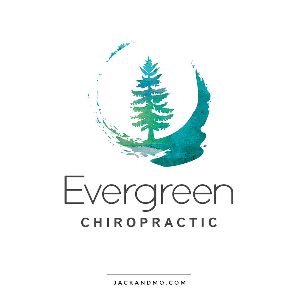 Logo Design for Evergreen Chiropractic, Featuring a Hand-Painted Evergreen Tree